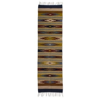 Handcrafted Wool 'Fall Foliage' Zapotec Rug 2x8 (Mexico)