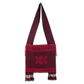 Handcrafted Cotton 'Crimson Wilderness' Shoulder Bag (Thailand)