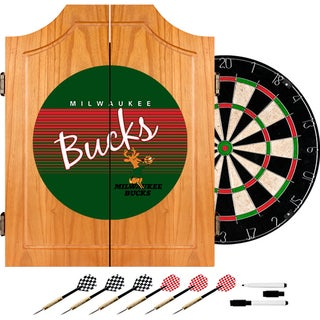 Milwaukee Bucks Hardwood Classics NBA Wood Dart Cabinet