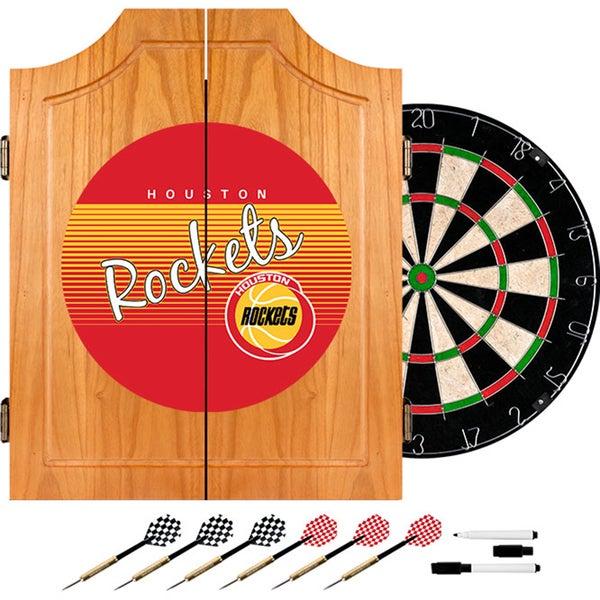 Houston Rockets Hardwood Classics NBA Wood Dart Cabinet