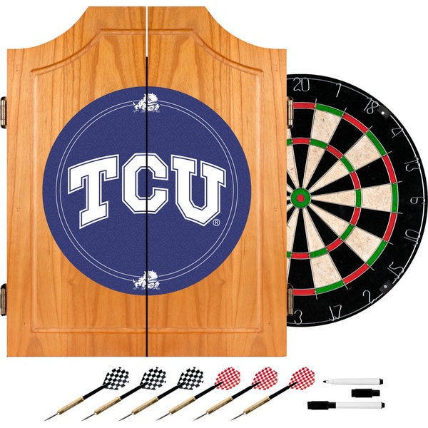 Texas Christian University Dart Cabinet with Darts and Board