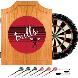 Chicago Bulls Hardwood Classics NBA Wood Dart Cabinet Set