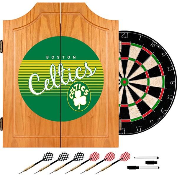Boston Celtics Hardwood Classics NBA Wood Dart Cabinet Set