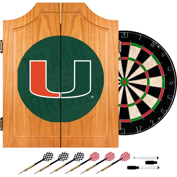 University of Miami Wood Dart Cabinet Set - Wordmark