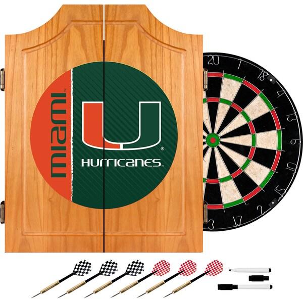 University of Miami Wood Dart Cabinet Set - Text