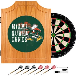 University of Miami Sebastian Wood Dart Cabinet Set - Smoke