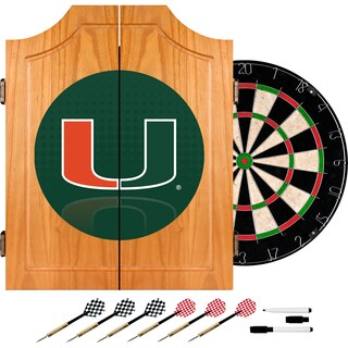 University of Miami Wood Dart Cabinet Set - Reflection