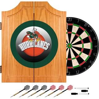 University of Miami Sebastian Wood Dart Cabinet Set - Honeycomb