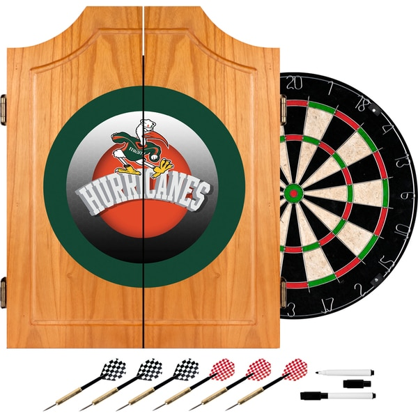 University of Miami Sebastian Wood Dart Cabinet Set - Honeycomb