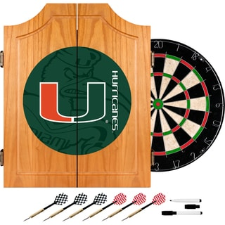University of Miami Wood Dart Cabinet Set - Fade