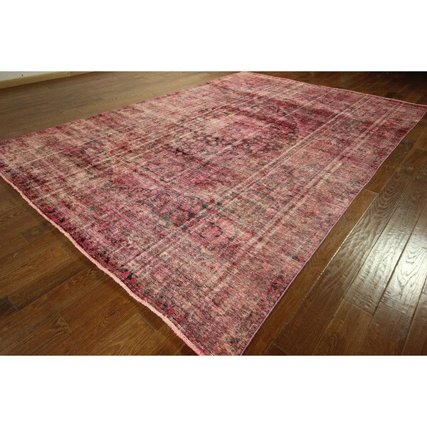 Shop Pink Cast Overdyed Persian Area Rug Hand-knotted Wool