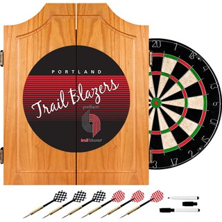Portland Trail Blazers Hardwood Classics NBA Wood Dart Cabinet