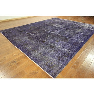 Purple Overdyed Persian Area Rug Wool Hand-knotted Rug (10' x 13')