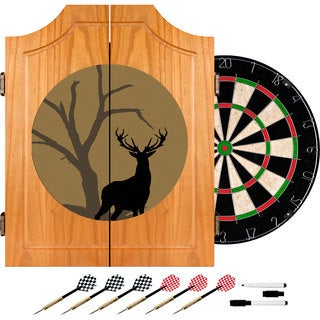 Hunt Deer Wood Dart Cabinet Set