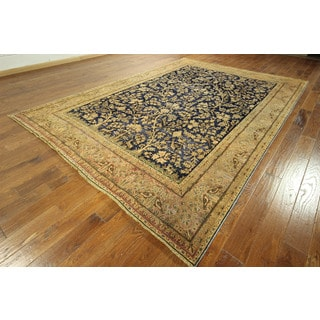 Tree Of Life Navy Antique Overdyed Hand-knotted Persian Wool Rug (9' x 12')
