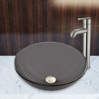 VIGO Sheer Black Frost Glass Vessel Sink And Seville Faucet Set In Brushed  Nickel Finish