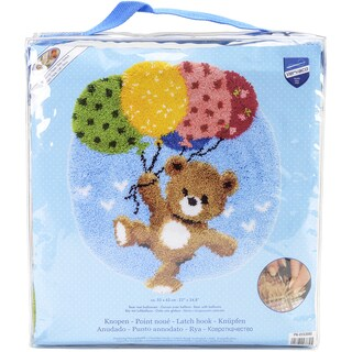 "Vervaco Shaped Rug Latch Hook Kit 22""x24.75"" -Bear With Balloons"