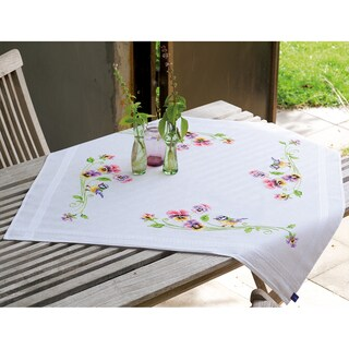 Little Birds And Pansies Tablecloth Stamped Embroidery Kit