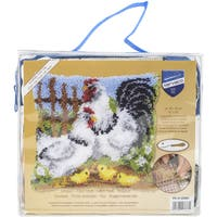 "Vervaco Cushion Latch Hook Kit 16""X16""-Chicken Family On A Farm"