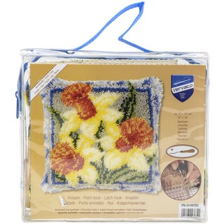 "Vervaco Cushion Latch Hook Kit 16""X16""-Daffodils"