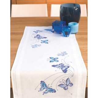 Blue Butterflies Table Runner Stamped Embroidery Kit
