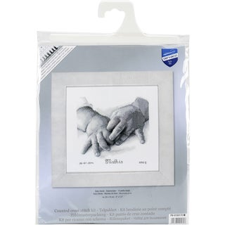 Baby Hands Birth Record On Aida Counted Cross Stitch Kit