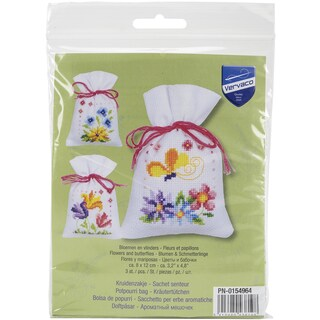 Flowers And Butterflies Bags On Aida Counted Cross Stitch Ki