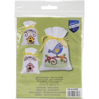Bird And Bird Houses Bags On Aida Counted Cross Stitch Kit