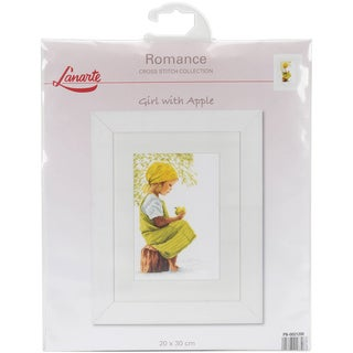 LanArte Girl With Apple On Cotton Counted Cross Stitch Kit
