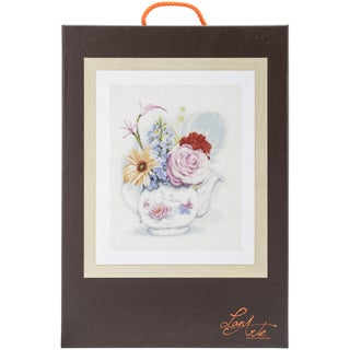 LanArte Flowers In Teapot On Linen Counted Cross Stitch Kit