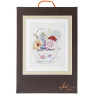 LanArte Flowers In Teapot On Linen Counted Cross Stitch Kit