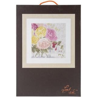 LanArte Pastel Flowers On Linen Counted Cross Stitch Kit