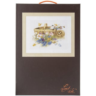 LanArte Spring Flowers On Cotton Counted Cross Stitch Kit