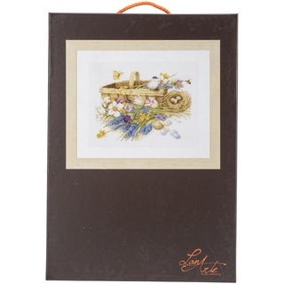 LanArte Spring Flowers On Aida Counted Cross Stitch Kit