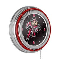 Ohio State Brutus Dash Chrome Double Ring Neon Clock