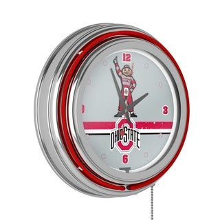 Ohio State Stripe Chrome Double Ring Neon Clock