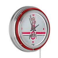 Ohio State Stripe Chrome Double Ring Neon Clock