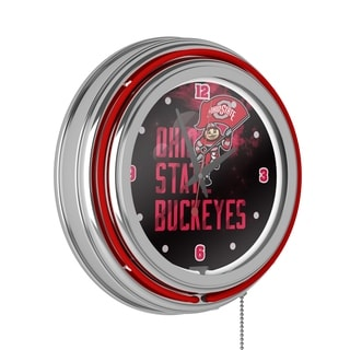 Ohio State Smoking Brutus Chrome Double Ring Neon Clock