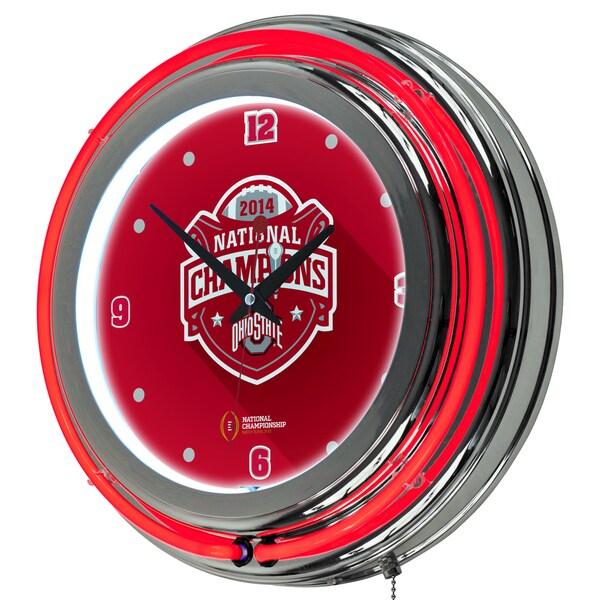 Ohio State University National Champions Chrome Neon Clock