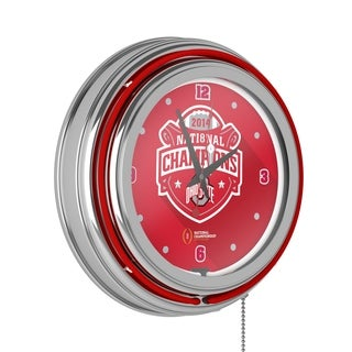 Ohio State University National Champions Chrome Neon Clock