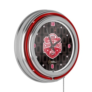 Ohio State University National Champions Chrome Neon Clock - Fade