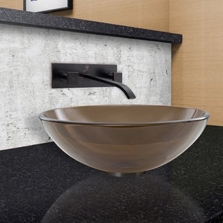 VIGO Sheer Sepia Glass Vessel Sink and Titus Wall Mount Faucet Set in Antique Rubbed Bronze Finish