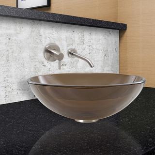 VIGO Sheer Sepia Vessel Sink and Olus Wall Mount Faucet Set in Brushed Nickel