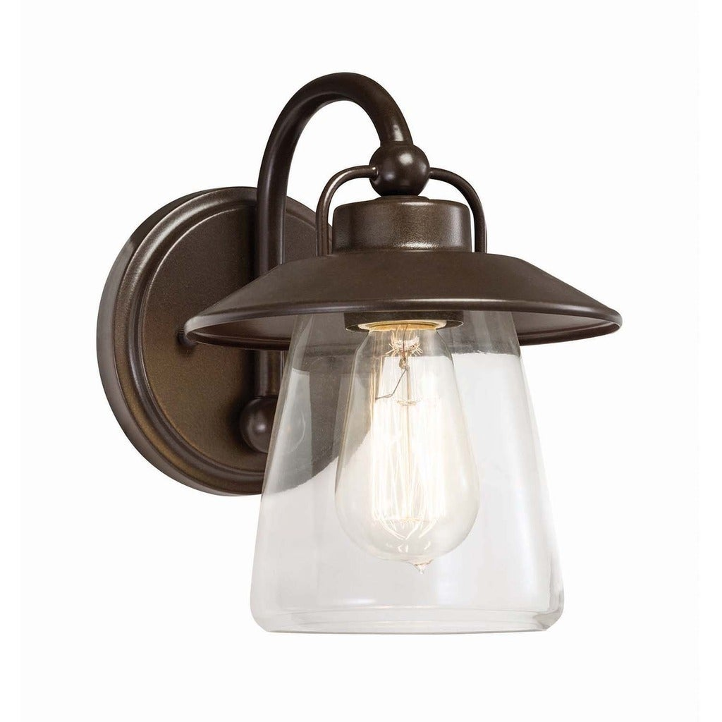 Shop Transitional 1 Light Mission Bronze Wall Sconce Free Shipping