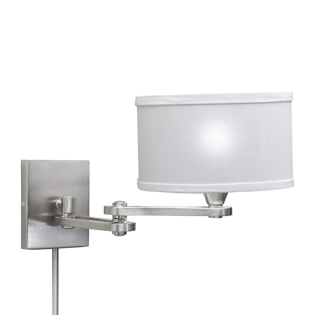 new concept ca052 6ef8f Transitional 1-light Chrome Swing Arm Pin-up Plug-in Wall Lamp