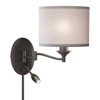 Transitional Bronze 1-light Swing-arm Pin-up Plug-in Wall Lamp
