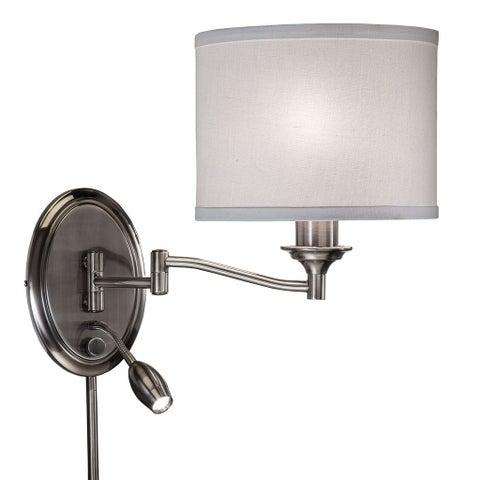 Clay Alder Home Alum Creek Transitional 2-light Antique Pewter Swing Arm Pin-up Plug-in Wall Lamp