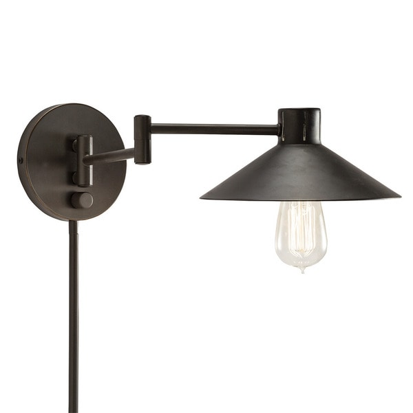 transitional 1 light bronze swing arm pin up plug in wall lamp free. Black Bedroom Furniture Sets. Home Design Ideas