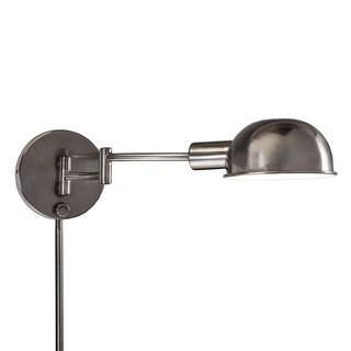 1light antique pewter swing arm pinup plugin wall lamp