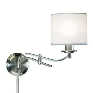 Porch & Den Spenard McRae 1-light Brushed Nickel Swing Arm Pin-up Plug-in Wall Lamp